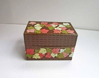 Recipe Box, Vintage 1970 Pastel Maple Leaves on Wicker Look Metal Recipe Box for your Kitchen Recipes, Desk Top Cards, Vintage Tin Box