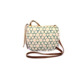 date purse  • geometric print - small cross body bag • aqua blue - geometric print - waxed canvas • crossbody bag - summer style