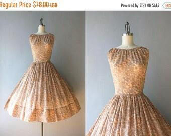 STOREWIDE SALE Vintage 1950s Dress / 50s Sheer Floral Sundress / 1950s Full Skirt Cocoa Floral Cotton Dress M medium S/M