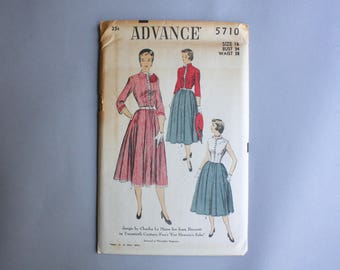 1950s Sewing Pattern / Vintage 50s Dress Pattern / Charles Le Maire for Joan Bennett Uncut Advance Pattern 5710 16 34 bust 28 waist