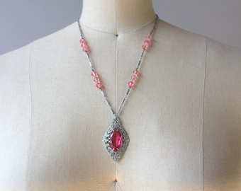 1920s Necklace / Vintage 20s Pink Filigree Pendant Necklace / Silver Rhodium Art Deco Necklace