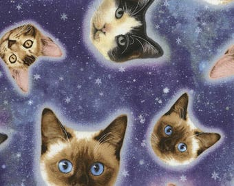 Cat Heads in Space Galaxy Timeless Treasures fabric 1 yard