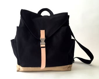 Black Diaper bag, canvas backpack ,Leather strap laptop Satchel rucksack, travel day bag,Unisex School backpack, , - 30% SALE // no.108 //