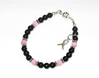 LOSS OF a SISTER Awareness Bracelet with Black Czech Glass & Pink Cats Eye Beads