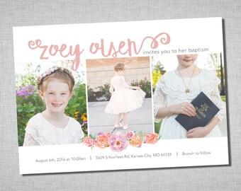 LDS baptism invitation, modern girl baptism invitation, printable baptism announcement - digital baptism invitation