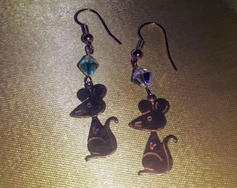 Dapper Rat. Lovely rat and swarovski crystal dangle earrings