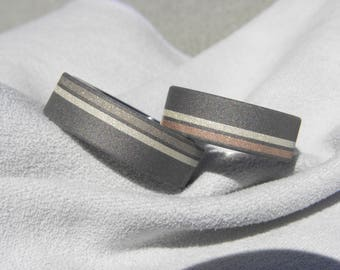 Titanium, Silver and Gold Offset Stripe Inlay SET, Wedding Bands, His, Hers, Unisex Rings