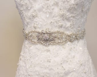 Rhinestone and Pearl Bridal Belt #325-Belt-Made to Order-CRBoggs Original Design