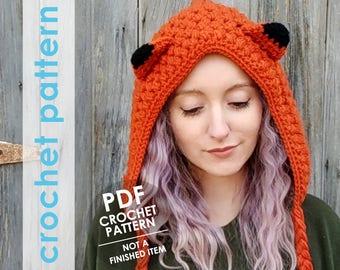 crochet fox hood pattern,hat crochet pattern, crochet hood pattern, crochet fox hat, winter hood, crochet winter hat hood pattern, mori girl