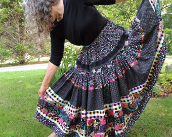 Special Order for Molly, Two Tier Full Circle Long Gypsy Patchwork Skirt
