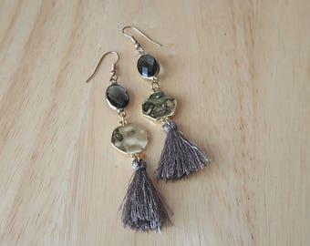 Long gold tassel earrings |  gold dangle earrings | navy blue earrings | statement earrings | everyday earrings| boho jewelry| gift for mom