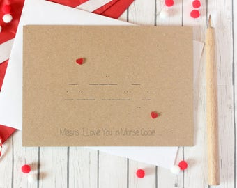 Morse Code. Anniversary Card. Engagement Card. Wedding Card. Handmade Card. Valentines. Valentines Card. Valentines Day Card. Morse. geek.