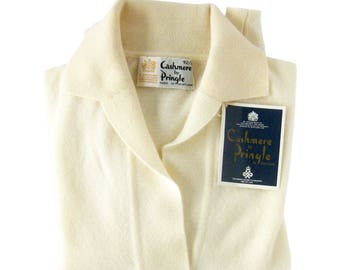 Vintage IVORY White Cashmere Sweater / Cashmere by Pringle / Made in Scotland / Pullover Sweater / Beautiful Condition NOS with Tags