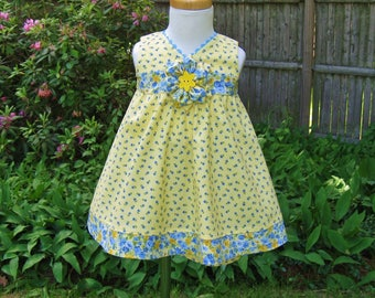 Baby girl, Dress and shorts, Yellow & blue, Size 12Mo, Ready to ship, 2 piece outfit, Summer spring, OOAK, Birthday, Party dress, Toddler,