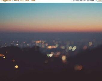 SALE Los Angeles sunset print, LA baby nursery wall art, bokeh photography, California photo, LA cityscape photograph, blue, orange, Myan So