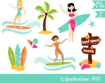 Digital Clipart - Tropical Surfer Girl - Beach - Surf - Hawaii - Summer - 300 dpi JPEG and PNG - instant download