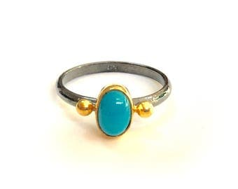 Blue Turquoise Ring with gold balls made in sterling silver coated 18K gold. Natural turquoise ring, oxidized silver ring, turquoise ring
