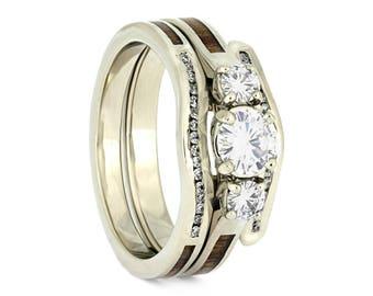 Koa Wood Bridal Set, Three Stone Engagement Ring, White Gold Wedding Band, Tropical Wedding