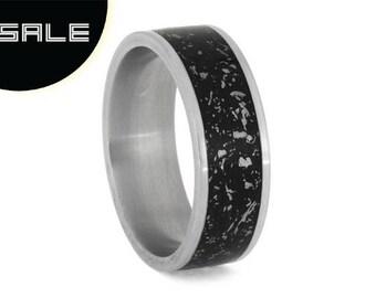 SALE - Black Stardust Wedding Band, Meteorite Ring With Enamel, Matte Titanium Band For Men