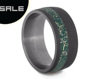 SALE - Meteorite Green Stardust Wedding Band, Titanium Ring For Men With Sandblasted Finish, Gold Shavings Mixed With Meteorite