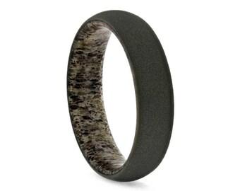 Deer Antler Ring With Sandblasted Titanium Finish, Antler Wedding Band, Gift For Hunters