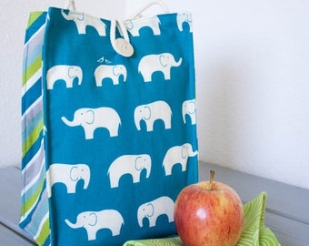 ON SALE Insulated Organic Cotton Lunch Bag -- Blue Elephants -- PLASTIC Free!