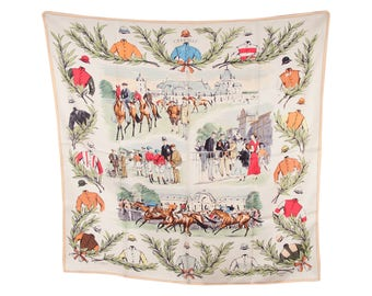Authentic HERMES Vintage Silk Scarf COURSES a CHANTILLY Maurice Taquoy