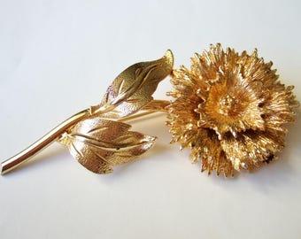 Golden Flower Brooch - Elegant Vintage Brooch, Probably Dianthus or Carnation