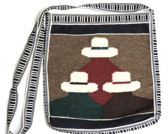 Folk Art Woven Textile Tote Bag/ South American Hats/ Ethnic Peru Cross Body Messenger Shoulder Bag
