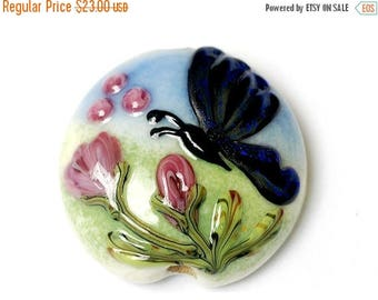 ON SALE 35% OFF Blue Sparkle Garden Butterfly Lentil Focal Bead - Handmade Glass Lampwork Bead 11835002