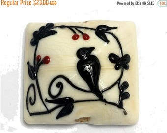 ON SALE 35% OFF Tranquility Vines Opaque Pillow Focal Bead - Handmade Glass Lampwork Bead 11830704