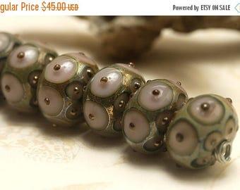 ON SALE 35% OFF Seven Lavender Pink w/Metal Dots Rondelle Beads - Handmade Glass Lampwork Bead Set 10602801