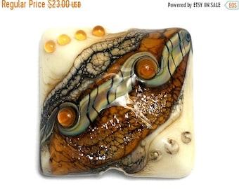 ON SALE 35% OFF Butterscotch Stardust Pillow Focal Bead - Dichroic - Handmade Glass Lampwork Bead 11831404