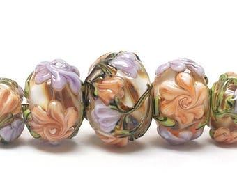 ON SALE 35% OFF Handmade Glass  Lampwork Beads  Sets - Five Graduated Light Pink w/Orange Floral  Rondelle Beads -  10801011