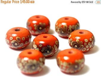 ON SALE 35% OFF Handmade Glass Lampwork Bead Set - Seven Coral w/Beige Rondelle Beads 11102701