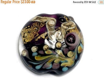 ON SALE 30% off Amethyst Treasure Lentil Focal Bead -11818502 Handmade Glass Lampwork Bead