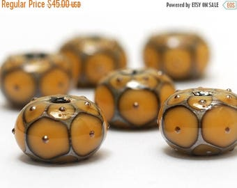 ON SALE 30% off Handmade Glass Lampwork Bead Set - Six Butterscotch w/Metal Dots Rondelle Beads 10801321