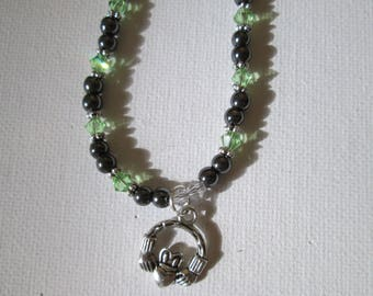 Hematite and Peridot Claddagh Necklace