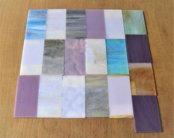 19 Vintage Glass Pieces Stained Glass DIY Jewelry Glass Mosaics Vintage Glass Tiles