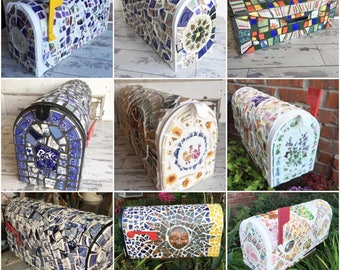 Broken China Mosaic Mailbox Mail Box - One of a Kind Statement Mailbox - Made to Order - Choose a Color