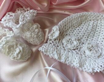 Christening bonnet, christening booties, crochet christening bonnet, crochet baby booties, heirloom booties, heirloom bonnet, baptism bonnet
