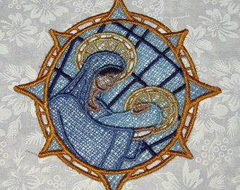 Machine embroidered lace ornament, Mary and Jesus