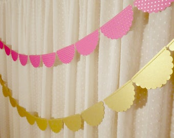 Bright Pink and Gold Party Decorations, Scalloped Garland, Hot Pink and Gold Foil Polka Dot Garland, Bridal Shower Decoration