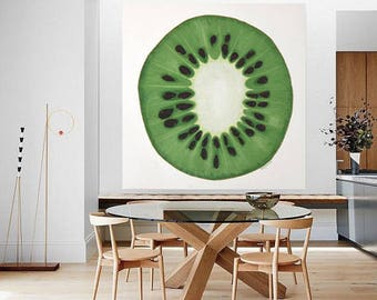 Large Kiwi Painting - Huge Green Fruit String Art 3 Dimensional Textured Kitchen or Dining Room Picture