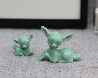 Ceramic Deer Pair Doe and Fawn in Mint Green