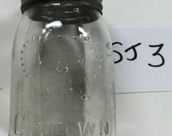SJ3   Clear embossed Crown sealer jar