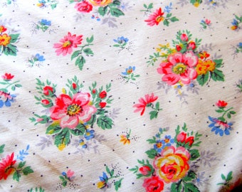 1950s French Vintage Fabric, Shabby Chic Fabric For Sewing - Patchwork, Quilting Fabric French Florals, Stunning 50s Florals, Dolls Clothes