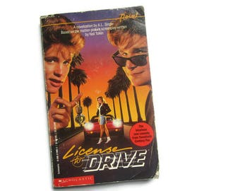 License To Drive Book - Based on 1988 Movie with Corey Haim and Corey Feldman - 80s Vintage Collectible Book