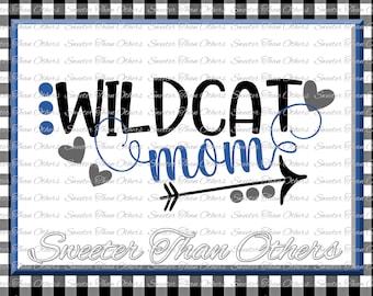 Wildcat Mom Svg, Football Wildcat, Baseball Wildcat, Basketball Wildcat, Vinyl Design SVG DXF Silhouette Cameo Cricut Instant Download