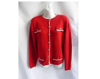 Vintage 90s Sweater Size S Red Cardigan Town Travel 36 Chest Jumper